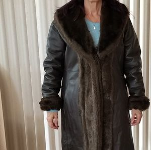 Jackets & Blazers - Reversible Leather and fake fur coat